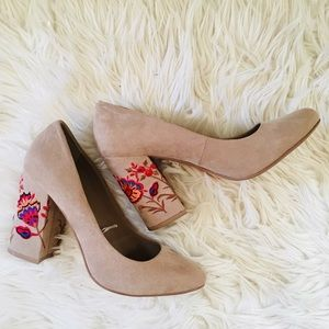 Embroidered chunky heels